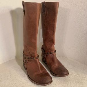 FRYE Brown Studded Boots Sz 8.5